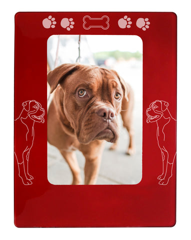 "Red Boxer Dog 4"" x 6"" Magnetic Photo Frame (Vertical/Portrait)"