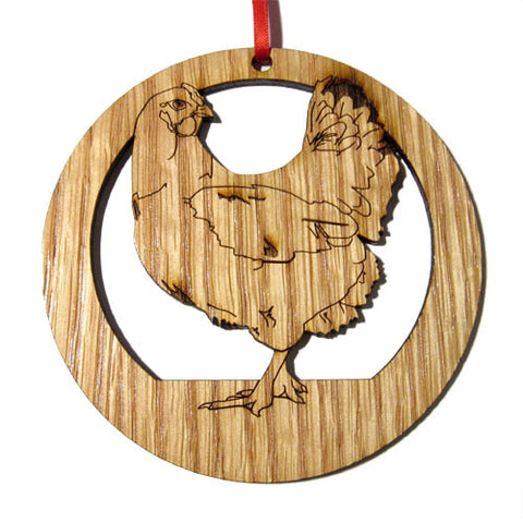 4 inch Chicken Laser-etched Ornament