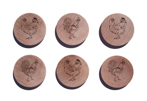 Chickens & Roosters Maple Magnet Set of 6