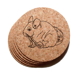 4 inch Chinchilla Cork Coaster Set of 6