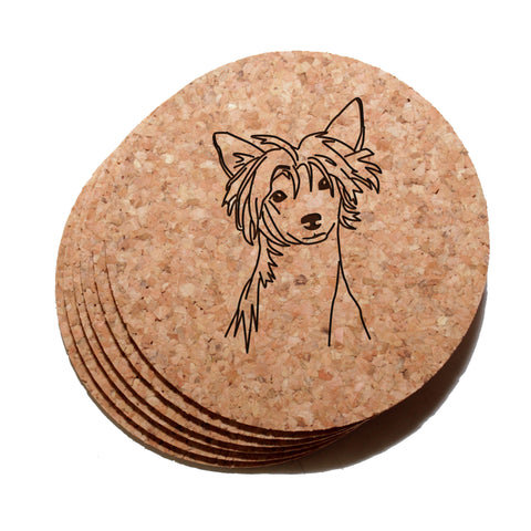 4 inch Chinese Crested Cork Coaster Set of 6
