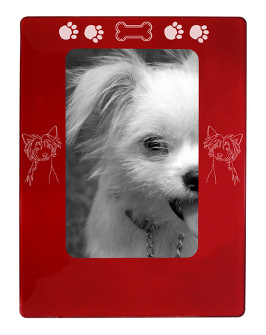 "Red Chinese Crested 4"" x 6"" Magnetic Photo Frame (Vertical/Portrait)"
