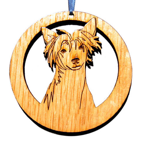 4 inch Chinese Crested Laser-etched Ornament