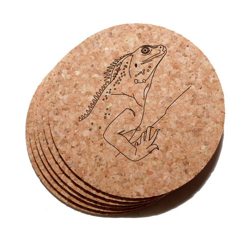 4 inch Chinese Water Dragon Cork Coaster Set of 6