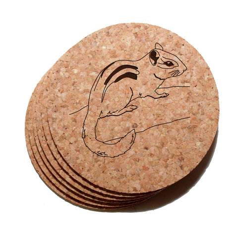 4 inch Chipmunk Cork Coaster Set of 6