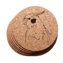 4 inch Cockatiel Bird Cork Coaster Set of 6