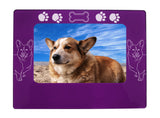 "Purple Corgi Dog 4"" x 6"" Magnetic Photo Frame (Horizontal/Landscape)"