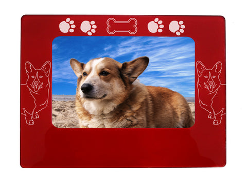 "Red Corgi Dog 4"" x 6"" Magnetic Photo Frame (Horizontal/Landscape)"