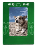 "Green Corgi Dog 4"" x 6"" Magnetic Photo Frame (Vertical/Portrait)"