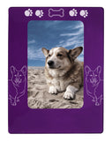 "Purple Corgi Dog 4"" x 6"" Magnetic Photo Frame (Vertical/Portrait)"