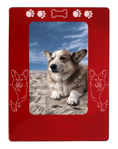 "Red Corgi Dog 4"" x 6"" Magnetic Photo Frame (Vertical/Portrait)"