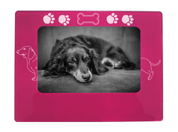 "Pink Dachshund 4"" x 6"" Magnetic Photo Frame (Horizontal/Landscape)"