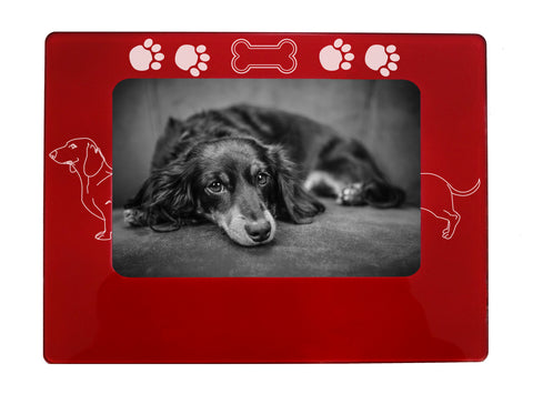 "Red Dachshund 4"" x 6"" Magnetic Photo Frame (Horizontal/Landscape)"