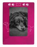 "Pink Dachshund 4"" x 6"" Magnetic Photo Frame (Vertical/Portrait)"