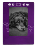 "Purple Dachshund 4"" x 6"" Magnetic Photo Frame (Vertical/Portrait)"