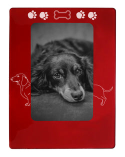 "Red Dachshund 4"" x 6"" Magnetic Photo Frame (Vertical/Portrait)"