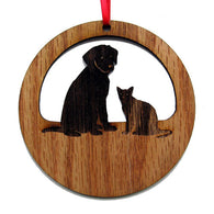 4 inch Dog And Cat Pals Laser-etched Ornament