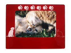 "Red Dog & Cat Pals 4"" x 6"" Magnetic Photo Frame (Horizontal/Landscape)"