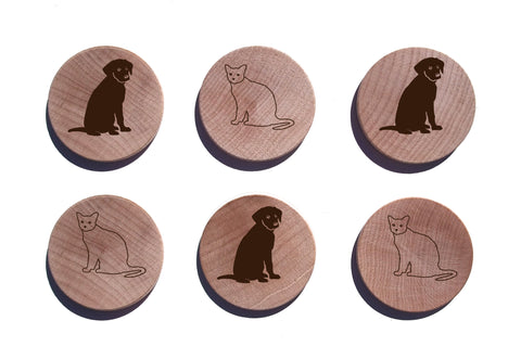 Dog And Cat Pals Maple Magnet Set of 6