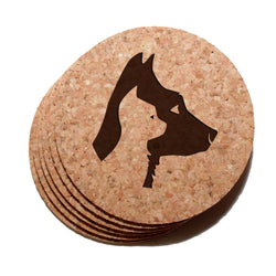 4 inch Dog And Cat Profiles Cork Coaster Set of 6