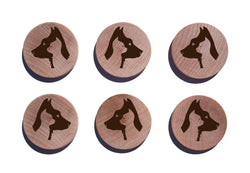 Dog And Cat Profiles Maple Magnet Set of 6