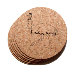 4 inch Emu Cork Coaster Set of 6