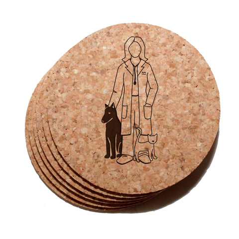 4 inch Female Veterinarian Cork Coaster Set of 6