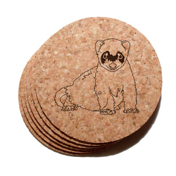 4 inch Ferret Cork Coaster Set of 6