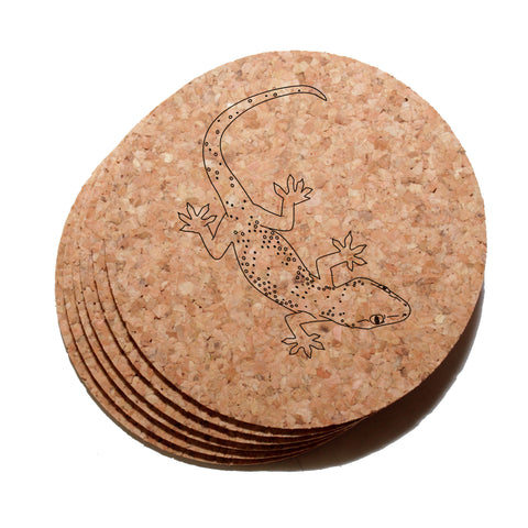 4 inch Gecko Cork Coaster Set of 6