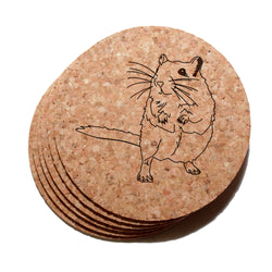 4 inch Gerbil Cork Coaster Set of 6