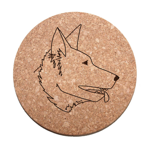 German Shepherd Face Cork Trivet