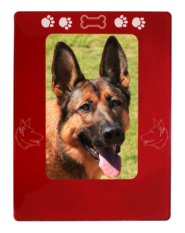 "Red German Shepherd 4"" x 6"" Magnetic Photo Frame (Vertical/Portrait)"