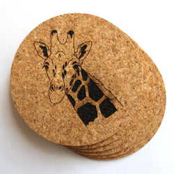4 inch Giraffe Cork Coaster Set of 6