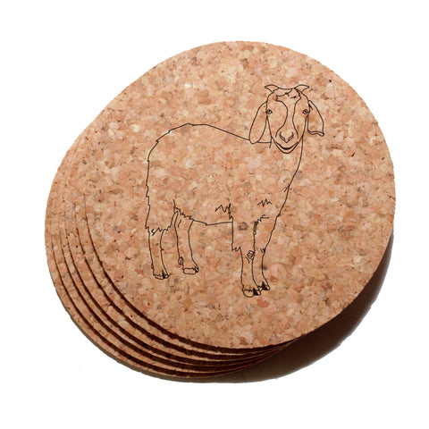 4 inch Goat Cork Coaster Set of 6