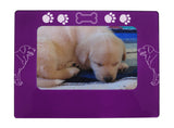 "Purple Golden Retriever 4"" x 6"" Magnetic Photo Frame (Horizontal/Landscape)"