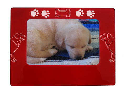 "Red Golden Retriever 4"" x 6"" Magnetic Photo Frame (Horizontal/Landscape)"