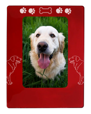 "Red Golden Retriever 4"" x 6"" Magnetic Photo Frame (Vertical/Portrait)"