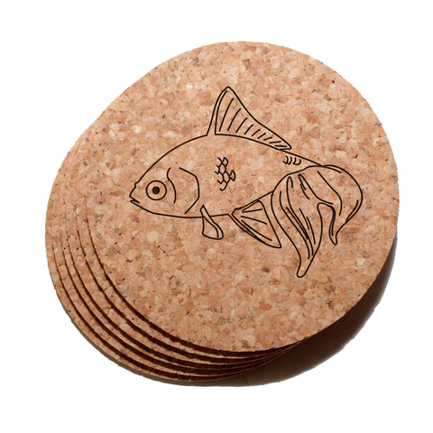 4 inch Goldfish Cork Coaster Set of 6