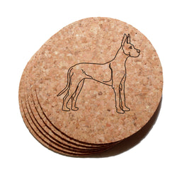 4 inch Great Dane Cork Coaster Set of 6