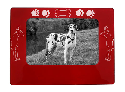 "Red Great Dane 4"" x 6"" Magnetic Photo Frame (Horizontal/Landscape)"