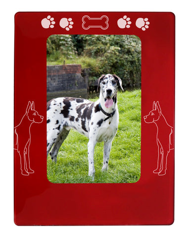 "Red Great Dane 4"" x 6"" Magnetic Photo Frame (Vertical/Portrait)"