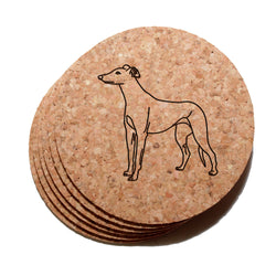 4 inch Greyhound Cork Coaster Set of 6