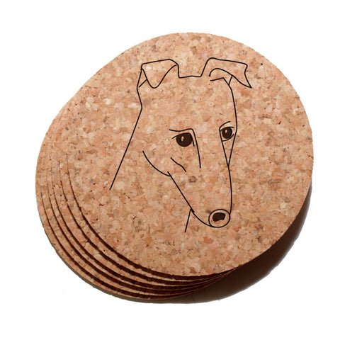 4 inch Greyhound Face Cork Coaster Set of 6