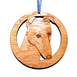 4 inch Greyhound Face Laser-etched Ornament