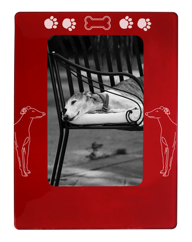 "Red Greyhound 4"" x 6"" Magnetic Photo Frame (Vertical/Portrait)"