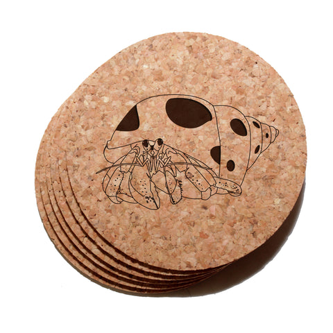 4 inch Hermit Crab Cork Coaster Set of 6