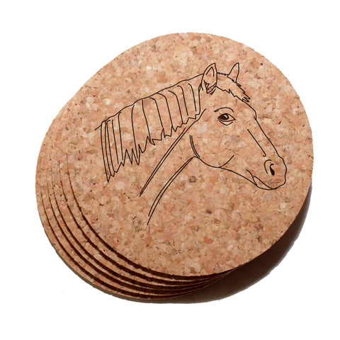 4 inch Horse Cork Coaster Set of 6