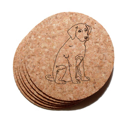 4 inch Labrador Retriever Cork Coaster Set of 6