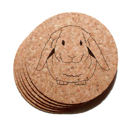 4 inch Lop Eared Rabbit Cork Coaster Set of 6