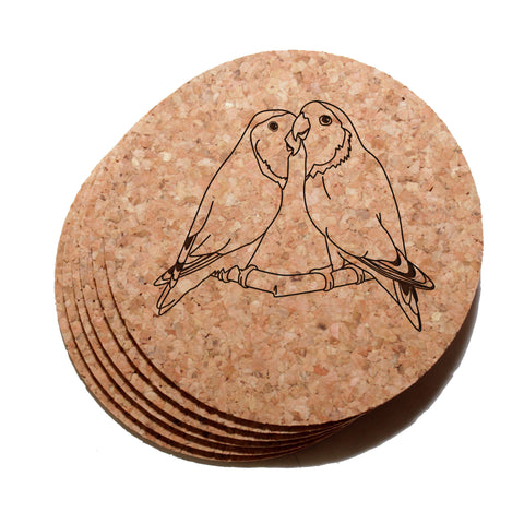4 inch Lovebirds Cork Coaster Set of 6
